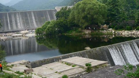 Dams in the mountains, full of lake water Stock Video Footage