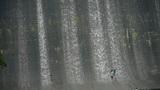 People are playing under dam,Waterfall texture,rainy season Footage