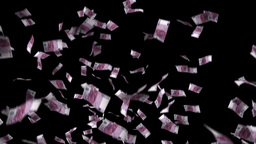 Five hundred euro banknotes explosion, matte Animation