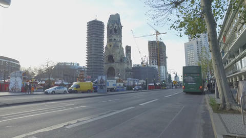 Kaiser Wilhelm memorial Church,Ruins of an original church, built in 1890 Footage