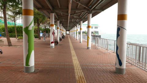 Covered run pathway for fitness people, modern quay promenade Footage