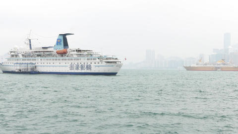 Rex Fortune passenger ship stand still at Victoria Harbour waters Footage