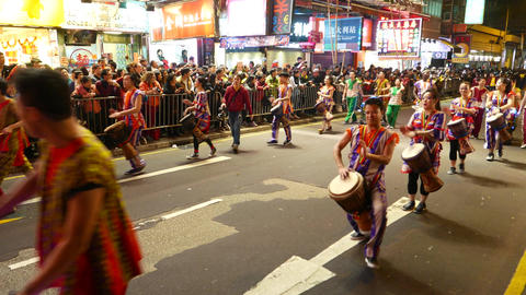 Emotional drummer beats drums, Chinese new year parade Footage