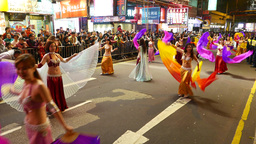 Belly dance parade performance, long shot, Chinese New Year, night Footage