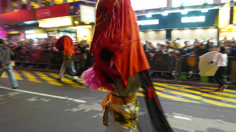 Big scary mask costume at night parade, festival procession Footage