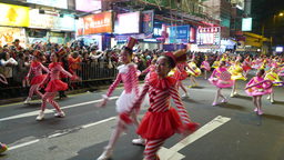 Young girls ballet show at night street. colourful costumes Footage