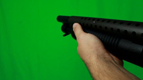 Very Close Shotgun Pull Out - Green Screen Live Action