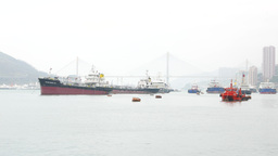 Tankers on the bay waters, against Ting Kau Bridge in morning fog Footage