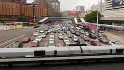 Traffic jam from above, seven lanes road blockage, congestion Footage