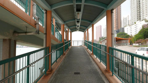 Moving up at pedestrian overpass ramp, inclined footpath Live影片