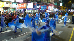 Blue waves dance performance, Chinese new year celebration parade Footage