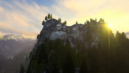 Mount Rushmore, morning mist, camera fly Animation