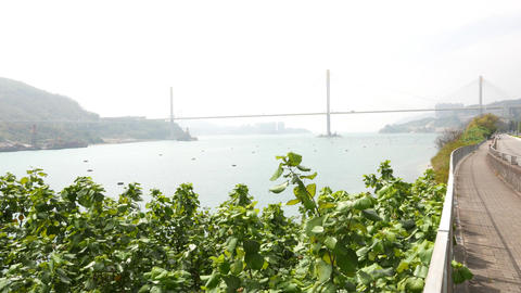 Panning out the panoramic view to channel, Ting Kau Bridge and Tsing Yi island Footage