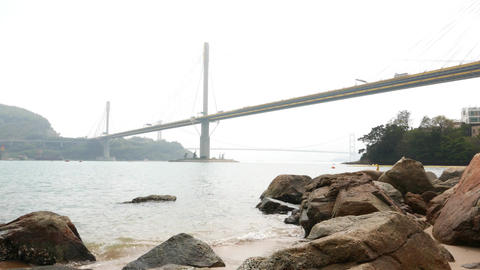 Ting Kau Bridge perspective from beach, massive cable-stayed construction Footage