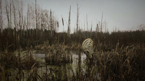 gas mask in dead swamp forest Footage