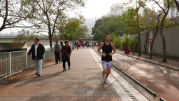 People walk river promenade, jogging, recreating, biking area Footage