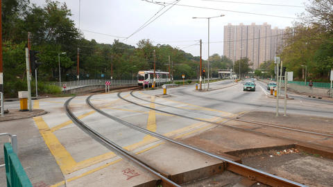 Tram approaching from road turn, Light Rail Transit system Footage