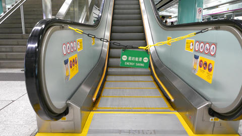 Escalator out of order due to energy saving, modern station, three views Footage