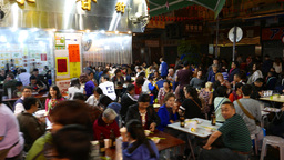 Overflow restaurant expanded to street area, night lifestyle of Hong Kong Footage