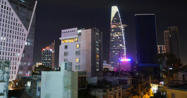 HO CHI MINH / SAIGON, VIETNAM - 2015: City night skyline buildings offices Footage