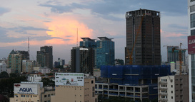 HO CHI MINH / SAIGON, VIETNAM - 2015: City sunset skyline buildings offices Footage