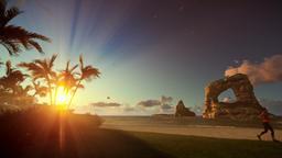 Tropical island with woman running on the beach at sunrise, tilt Animation