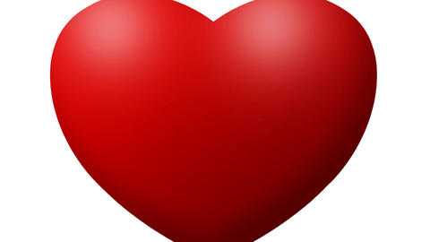 Red Love heart thumping beating on white background Footage