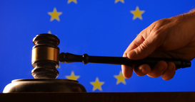 Judge Calling Order With Hammer And Gavel In EU Court With Flag Background stock footage