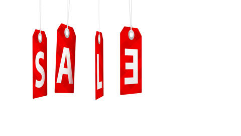 Big sale animation with red tags rotating for shopping sales and promotions Footage