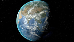 Night to day - rotating Earth. Zoom in on Afghanistan outlined Animation