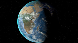 Night to day - rotating Earth. Zoom in on Angola outlined Animation