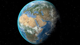 Night to day - rotating Earth. Zoom in on Austria outlined Animation