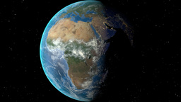 Night to day - rotating Earth. Zoom in on Benin outlined Animation