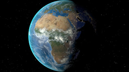 Night to day - rotating Earth. Zoom in on Burkina Faso outlined Animation