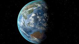 Night to day - rotating Earth. Zoom in on Cambodia outlined Animation