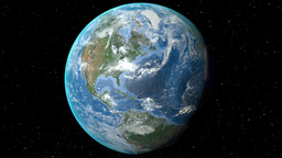 Night to day - rotating Earth. Zoom in on Canada outlined Animation