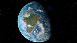 Night to day - rotating Earth. Zoom in on Chile outlined Animation