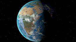 Night to day - rotating Earth. Zoom in on Congo outlined Animation