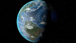 Night to day - rotating Earth. Zoom in on Cuba outlined Animation