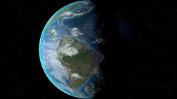 Night to day - rotating Earth. Zoom in on Ecuador outlined Animation