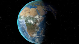 Night to day - rotating Earth. Zoom in on Equatorial Guinea outlined Animation