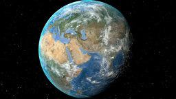 Night to day - rotating Earth. Zoom in on Estonia outlined Animation