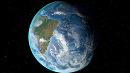 Night to day - rotating Earth. Zoom in on Falkland Islands outlined Animation