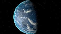 Night to day - rotating Earth. Zoom in on Fiji outlined Animation