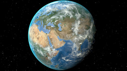 Night to day - rotating Earth. Zoom in on Finland outlined Animation
