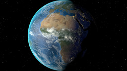 Night to day - rotating Earth. Zoom in on Guinea Bissau outlined Animation