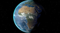 Night to day - rotating Earth. Zoom in on Guinea outlined Animation