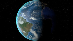 Night to day - rotating Earth. Zoom in on Guyana outlined Animation