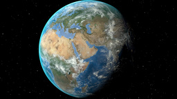 Night to day - rotating Earth. Zoom in on Hungary outlined Stock Video Footage