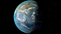 Night to day - rotating Earth. Zoom in on India outlined Animation
